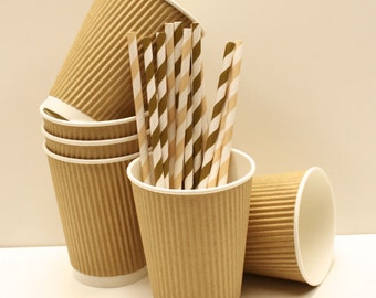 20 Brown Kraft Ripple Cups, ( 12 OZ. ) Paper Cups with DIY label, Hot Cocoa, Coffee, Party, Favor, Ice Cream, Food, Drink, Wedding, Birthday