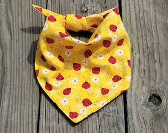 Ladybug Dog Bandana, Yellow with Ladybug Dog Bandan, Dog Bandana,Dog gift