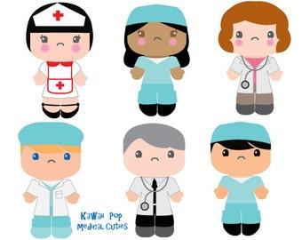 Cute Kids Clipart - Kawaii Clip art - Nurse Doctor clipart - Healthcare clipart