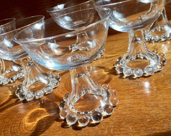 Beaded Champagne Coupes, Imperial Candlewick Champagne Coupes or Tall Sherbet Cups Set of 5