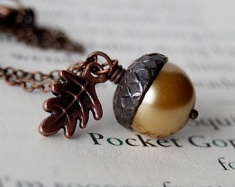 Honey and Copper Acorn Necklace | Pearl Acorn Necklace | Cute Acorn Charm Necklace | Woodland Forest Necklace