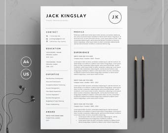 Resume Template/CV Template + Cover Letter for Word | Clean & Creative Resume Template | 5 Pages Pack | Instant Download | JK Resume