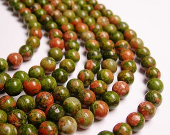Unakite - 8 mm round beads -1 full strand - 48 beads - A quality - WHOLESALE DEAL - RFG1040