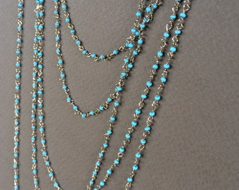 Turquoise Rosary Chain, Glass Seed Bead Chain, Glass Bead Chain, 2.5mm, 5Ft