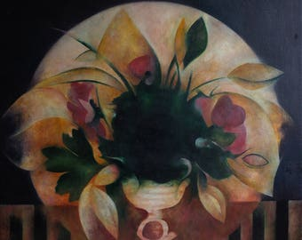 original abstract oil painting on canvas-still life with flowers