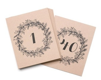 Rustic Wedding Table Number Cards for Wedding Receptions with Wreath Design