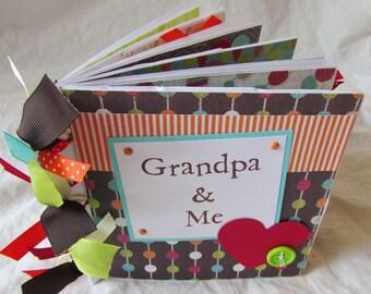 Premade Mini Scrapbook Album -- GRANDPA and ME -- PaPeR BaG book, grandpa's brag book, love my grandpa, papa, grandfather, father's day gift