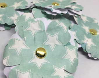 Paper Flowers - Shabby Chic - Distressed - For Packages, Cards, Scrapbooks, Journals - Seafoam Green - Patterned
