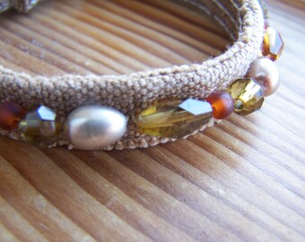 Upcycled Brown Canvas Bohemian Style Beaded Bracelet Cuff