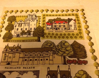 Vintage 1979 Fabric Dish Towel or Wall Decoration. Properties of the National Trust for Scotland commissioned by the trust