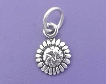 SUNFLOWER Charm .925 Sterling Silver, Sun Flower, MINIATURE Small - elp1738