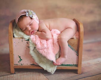 SET Pink Pelagio and Sage Green Cuddle Faux Fur Nest Photography Prop Rug Newborn Baby Toddler 27x30