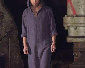 Men's grey hooded linen caftan, Linen tunic, Linen hooded kaftan, Linen robe, Linen homewear, Linen Robe, Linen Beach wear