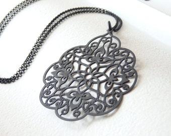 INDIA Matte Black Long Necklace