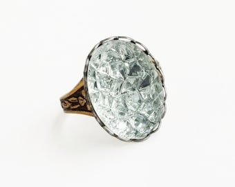 Ice Ring Vintage Clear Foiled Sugar Stone Adjustable Brass Sparkling Bumpy Crystal Ring Faux Drusy Druzy