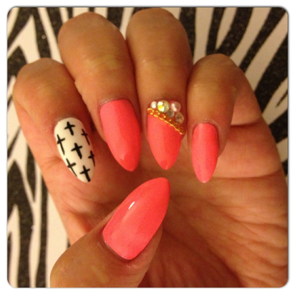 Pink with black and white cross design stiletto press on nails zoom prinsesfo Choice Image