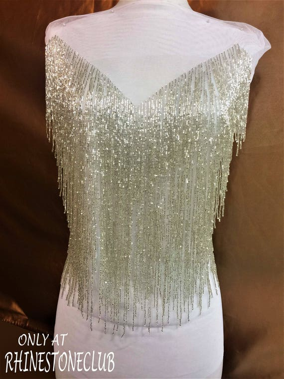 Designer Full Body Rhinestone Applique Beaded Wedding