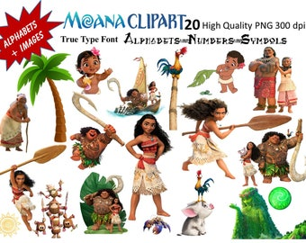 Full Alphabet + 20 Moana Clipart Images 300 DPI Transparent Background True Type Font Included Scrapbooking, Party Theme Stickers, Decals