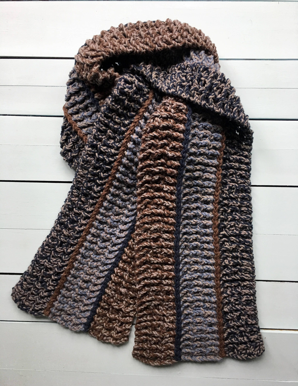 Mens Crochet Scarf PATTERN, EASY Crochet Scarf Pattern, Crochet ...