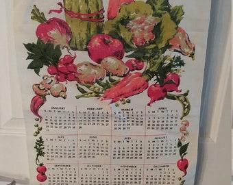 Vintage 1971 Linen Tea Towel Calendar