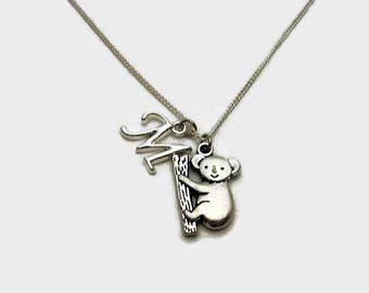Koala Bear Necklace Personalized Initial Koala Necklace Animal Jewelry Animal Necklace Koala Bear Jewelry Koala Jewelry