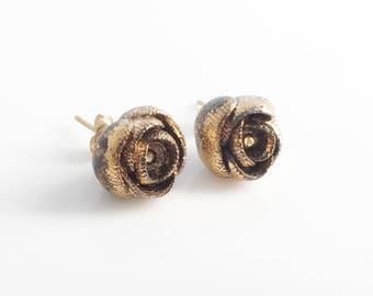 Rose Porcelain Earrings , Gold Gray Flower Studs, Statement Flowers Bridal , Gold Filled Studs ,Porcelain Jewelry , Ceramic Jewellery