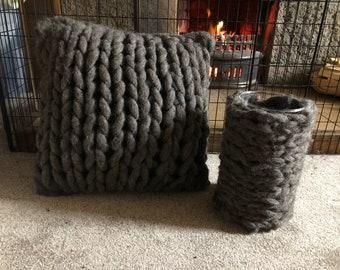 Grey Shetland wool wrapped vase