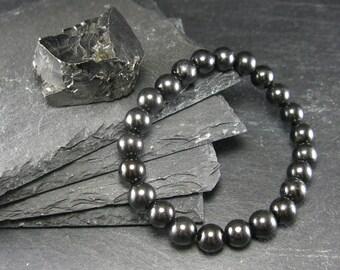 Shungite Genuine Bracelet ~ 7 Inches  ~ 8mm Round Beads