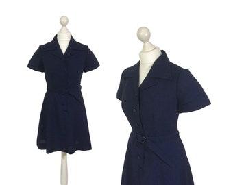Vintage School Dress   1970's Navy Blue Minidress   Dark Blue Shirt Dress   Gym Dress