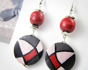 Handpainted earrings, fashion trends 2018, large red grey afro earrings, big chunky bold earrings, boho lover gift, party earrings women