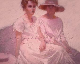 Two women print, best friends, figures, girlfriends, sisters, pink, lavender, ladies seated, summertime, girls sitting, dresses, 8x10