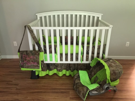7pc Camo Realtree Fabric & Lime Green Crib Bedding Nursery Set