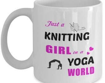 Yoga Knitting Gifts - Customized Mug - Funny Knitting Mug - Funny Yoga Mug - Yoga Teacher Gifts - Knitting Gift Ideas - 15oz