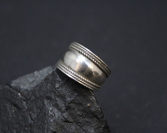 Sterling Silver Cigar Band Ring, Wide Sterling Band, Wide Silver Band Ring, Sterling Boho Band Ring, Wide Sterling Ring, Sterling Rope Ring