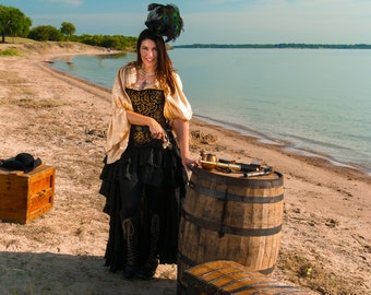 Gold and Black Leaf Victorian Steel Boned Corset, Pirate, Steampunk, Renaissance Festival, Ren Faire, Costume, Cosplay, Wild West World