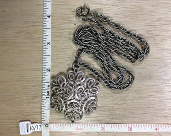 "Vintage 24"" Silver Toned Necklace Snowflake Design Used"