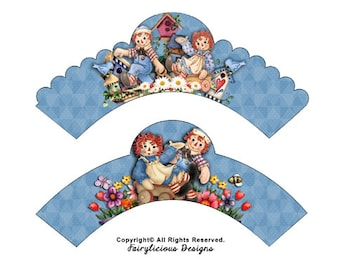 Raggedy Ann & Andy Cupcake Wrappers - Baby Shower Decorations - Instant Download - New Baby Cupcake Wrappers - Raggedy Party Decorations