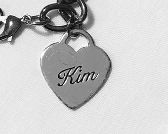 Vintage Charm Bracelet with Kim Inscribed on a Heart Charm