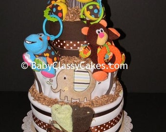 Safari Animal Pals Diaper Cake - Jungle Themed Diaper Cake with Lots of Baby Items