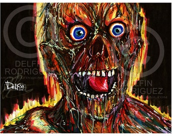 Night of the living Dead Tarman Zombie  Classic horror movie  signed art print  by Colorblind artist Delfin Rodriguez