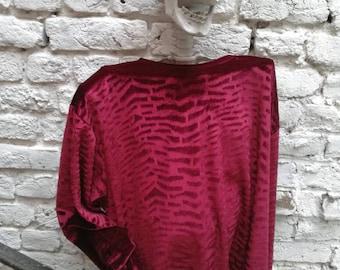 T shirt long sleeve velvet contrasting Zebra print Vintage
