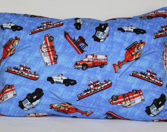 Emergency Vehicles Pillowcase - fits 13 x 18 Travel or Toddler Pillow