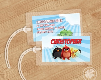 Angry Birds -  Luggage Tag, Bag Tag, Backpack Tag, ID Tags, Personalized, Custom