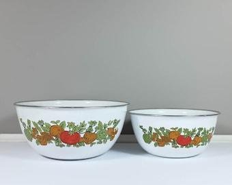 Set of two vintage Levcoware enamel bowl vegetables pattern - Retro enamel mixing bowls - Made in Korea - Vintage kitchen