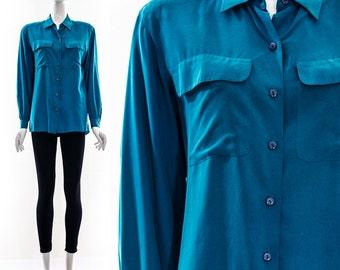 Vintage 80s SAPPHIRE BLUE Silk UTILITARIAN Blouse Long Sleeve Button Down Double Pockets Minimalist Top Medium Large