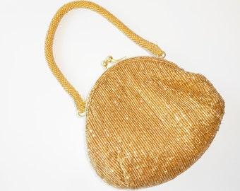 Gold Evening Bag, Vintage Gold Beaded Handbag, Small Gold Bag, Gold Bead Bag, Sparkly Evening Bag, Gold Evening Purse EB-0646