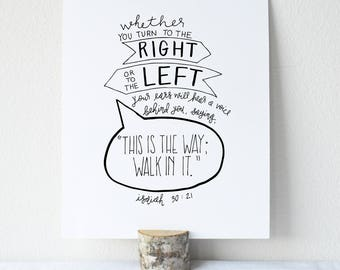 Isaiah 30:21  Printable Bible Verse Art Print 8x10 Digital Wall Art Gift