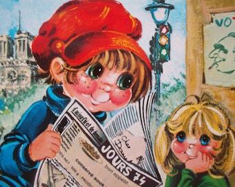 vintage Escarra postcard big eyed boy and girl