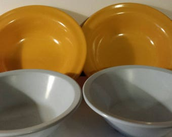 6 Melamine bowls cereal/dessert Canadian made, blue, gold, orange DuraWare 353 & GPL 306, cottage/camping