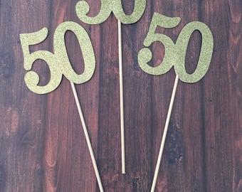 50 Centerpiece Picks, Glitter Fifty on a Stick, 50th Birthday Centerpiece Sticks, Fifty Sticks, Fifty Centerpiece Sticks (3 Count)